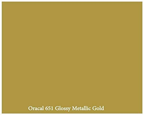 Metallic Gold Glossy 12' x 10 Foot Roll of Oracal 651 Permanent Adhesive-Backed Vinyl for Craft Cutters, Punches and Vinyl Sign Cutters Orafol Americas