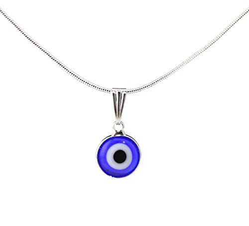 Nazar Evil Eye (Turkish White Gold Plated Evil Eye Pendant D11mm Snake Chain Necklace 16/18/20 Inches Option (blue and white))