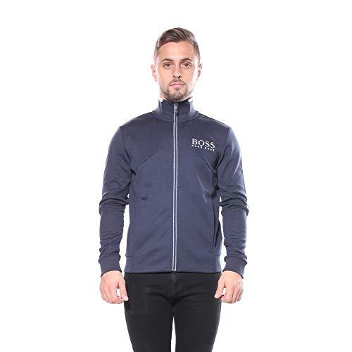 BOSS Green Men's Skaz Full Zip Stand Collar Jacket, Navy, L (Boss Coat Men Clothing For)