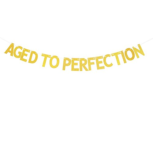 Glitter Gold Aged To Perfection Banner, Funny Birthday Party Decorations Signs Bunting Garland Photo Booth Props
