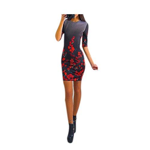 Amazon.com: Eloise Isabel Fashion Vestidos de mulheres do partido mais novo NEW belas flores patten mulheres dress o pescoço meia manga elegante ladies ...