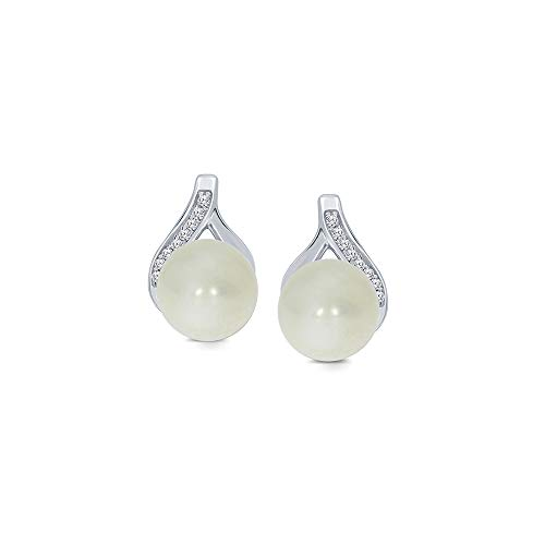Akoya South Sea Earrings - 925 Sterling Silver 1/20ct Round White Diamond 6.00mm Freshwater Cultured Pearl Tear Drop Ball Earrings For Womens Teens
