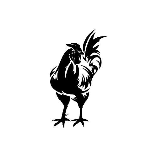 9.1CM16CM Cute Rooster Chicken Vinyl Car-Styling Decoration Decal Car Sticker Black/Silver C11-1059 Black ()