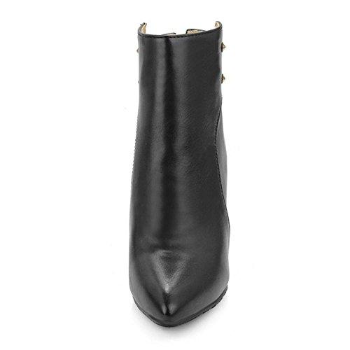 Pointu Rivets Bottes RAZAMAZA De Black Soirée Aiguille Talons Femmes Cheville 848IngfqH