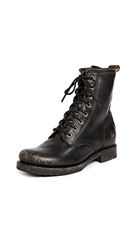 76272 Veronica Women's Washed Black Frye Combat Boot Stone 7PxC8qn