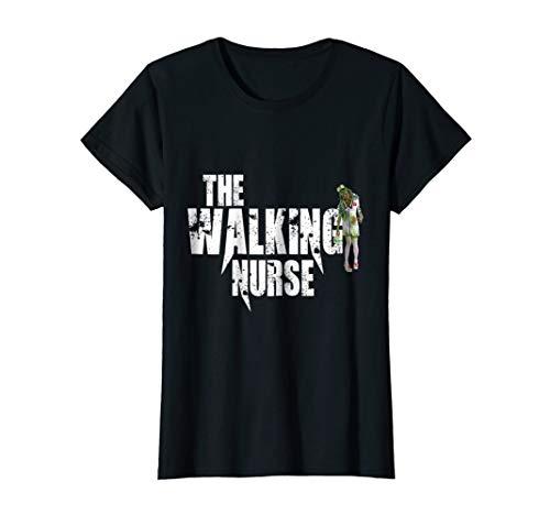 Womens Walking Nurse Halloween t-shirt, Hollywood funny Zombie Large Black -