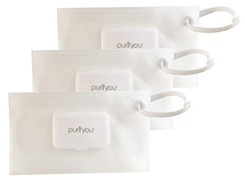 purifyou PurePouch Wipe Case | Keeps Wipes Moist | Premium Wetwipe Cases | Baby Wet Wipe Portable Travel Cases (Clear, Set of 3)
