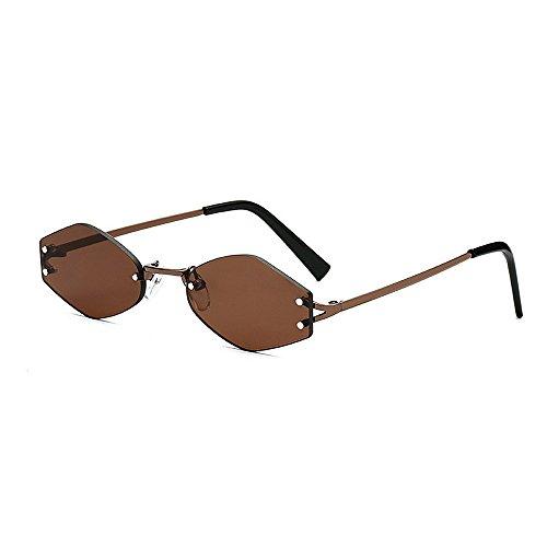 gafas para hombres marco polígono lente irregular viajando Marrón sol señora protección colorido sin de mujeres Amarillo conducir de la de de pequeñas la unisex UV sol Color para gafas Personalidad qStvwR5x