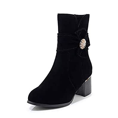 BalaMasa Womens ABS14138 High-Top Round-Toe Novelty Black Leather Boots - 2.5 UK (Lable:34)