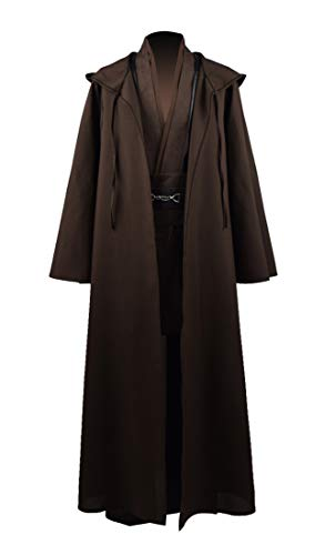 Fancycosplay Jedi Robe Cosplay Costume Set Men Halloween Outfit Brown White with Belt and Pocket Full Suit - US Size (M, -