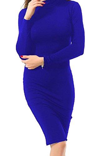 Coolred Femmes Bodycon Longueur Genou Élégant Bleu Robe De Soirée De Fête Solide