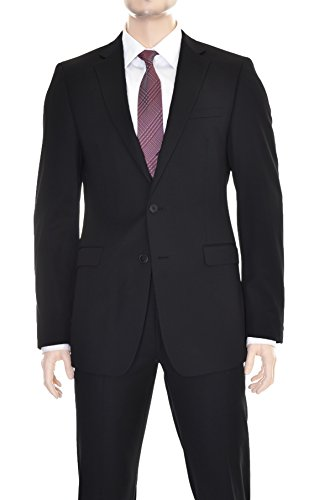 Calvin Klein Extreme Slim Fit Black Tonal Striped Two Button Wool Suit ()