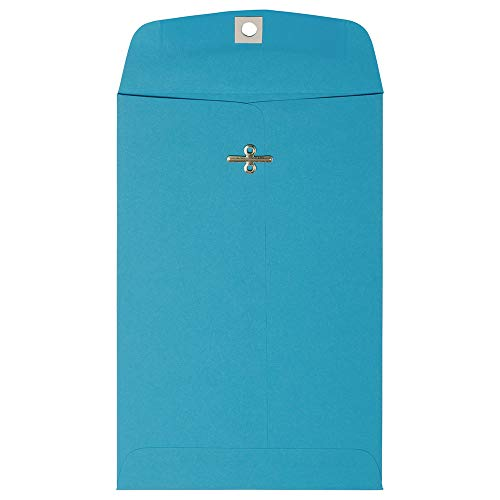 JAM PAPER 6 x 9 Open End Catalog Colored Envelopes with Clasp Closure - Blue Recycled - 100/Pack