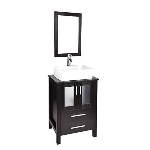 24 Inch Modern Bathroom Vanity and Sink Combo Lavatory Stand Cabinet Storage Wooden Black Espresso