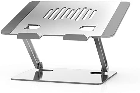 ANUIMOAR Laptop Stand,Ergonomic Height Angle Adjustable Computer Laptop Holder Compatible with MacBook, Air, Pro, Dell XPS, Samsung, Alienware All Laptops 10-16 inch, Supports Up to 33 Ibs-Silver