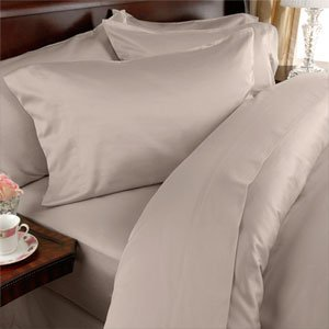 (Egyptian Bedding 800-Thread-Count Egyptian Cotton 4pc Bed Sheet Set, Twin, Beige Solid)