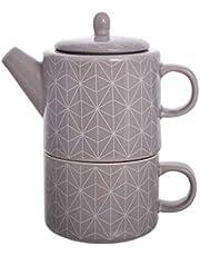 dethtlefsen Tea for One - Juego de Tetera y Taza de Porcelana (3 Piezas, 0,32 L)