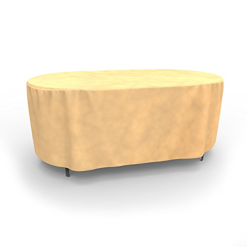 Budge All-Seasons Oval Patio Table Cover, Medium (Tan) (Patio Oval Covers Table)