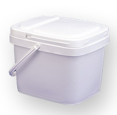 3 gal.Square Bucket and lid, w/handle,EZ Stor, 6 Pack