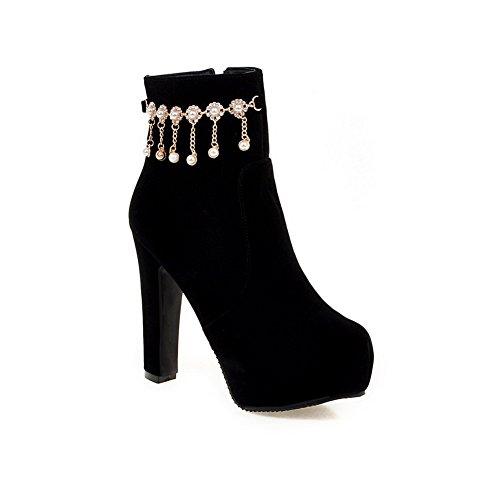 AdeeSu Ladies Chunky Heels Metal Chain Platform Frosted Boots Black
