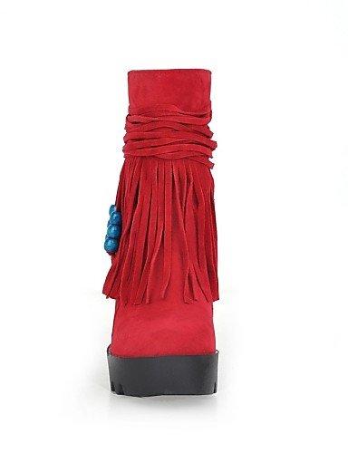 Femme décontracté Plateforme Bottes Mode Talon Citior Chaussures pour Bottes Bout en à pour compensé Polaire Chaussons Femme red Chaussons Rond cYqBwqUg