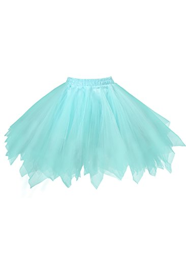 emondora Women's Tutu Tulle Petticoat Ballet Bubble Skirts Short Prom Dress Up Light Blue Size M-XL