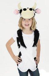 Cow Costume Vest Plush Hat Nativity 4-8 NIP
