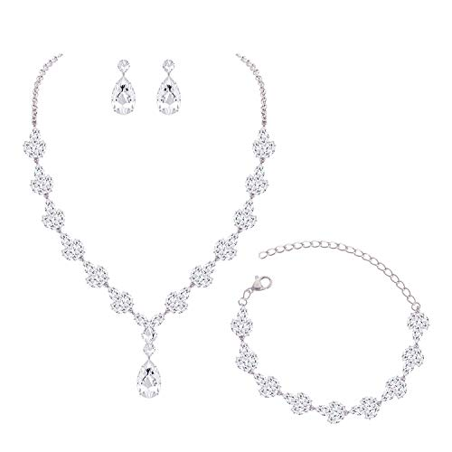 (YSOUL CZ Rhinestone Necklace Earrings Bracelet Jewelry Set for Prom Wedding Bridal Bridesmaid (White)