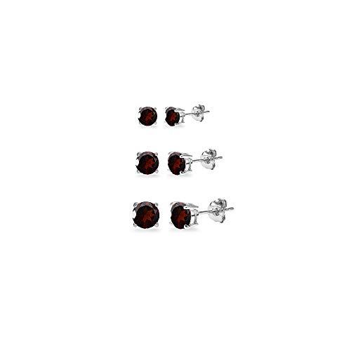 3-Pair Set Sterling Silver Garnet Round Stud Earrings, 3mm 4mm 5mm