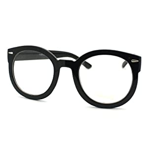 Black Oversized Round Thick Horn Rim Clear Lens Fashion Eye Glasses Frame