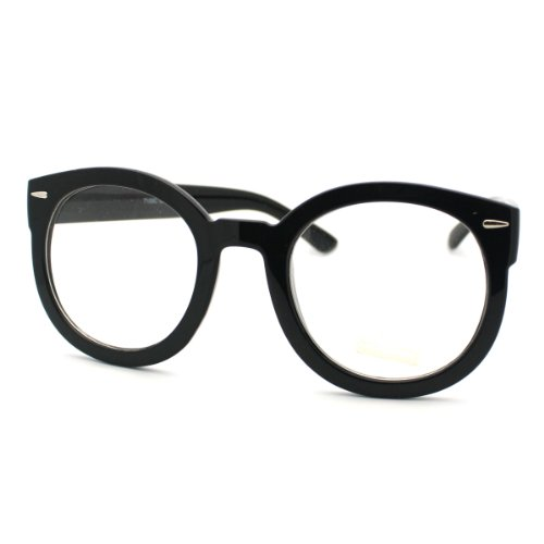Black Oversized Round Thick Horn Rim Clear Lens Fashion Eye Glasses Frame ()