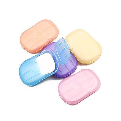 MAXGOODS 5 Dozen Draagbare Wegwerp Zeep Papier Vlokken Wassen Reiniging Hand Bad Reizen Geurende Mini Slice Sheets voor…