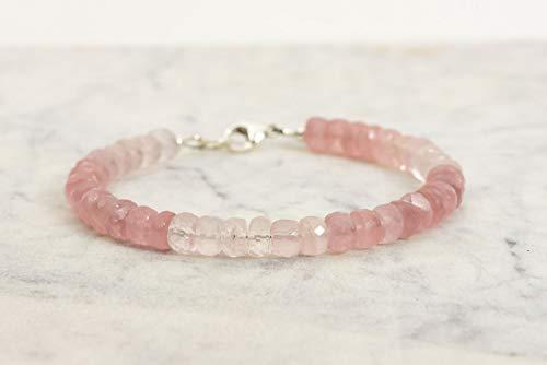 Madagascar Rose Quartz Bracelet, Ombre Rose Quartz Natural Gemstone Handmade Jewelry