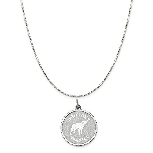 (Mireval Sterling Silver Brittany Spaniel Disc Charm on a Sterling Silver Box Chain Necklace,)