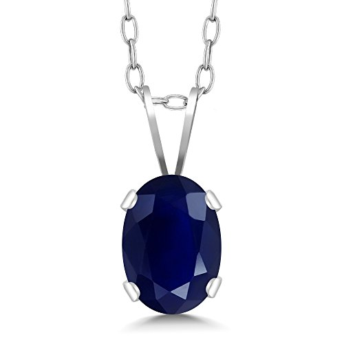 1.02 Ct Oval Shape Sapphire 925 Sterling Silver Pendant + 18 Inch Silver Chain by Gem Stone King