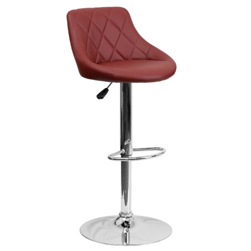 Flash Furniture Contemporary Burgundy Vinyl Bucket Seat Adjustable Height Barstool with Chrome Base (Bar Cart Sale For)