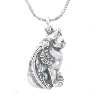 Amazon winged pegasus sitting cat pendant in sterling silver on winged pegasus sitting cat pendant in sterling silver on 20quot rhodium plated sterling silver snake aloadofball Gallery
