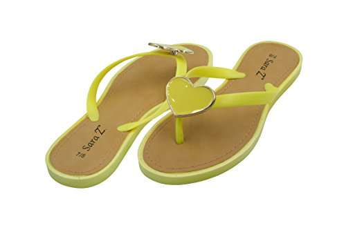 Sara Z Womens Big Hearted Jelly Thong Flip Flop Sandal Size 9/10 Yellow
