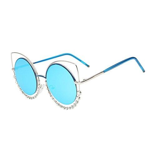 TL gris de tonos degradado Silver gradual Eye Gafas UV400 mujeres de Blue de sol de gafas gafas Cat a Señor plata el Sunglasses sol de Diamond de para espejo 4rq7z4
