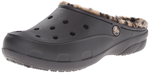 Croc Print Leather (crocs Women's Freesail Leopard Lined Clog, Black/Gold, 7 B(M) US)