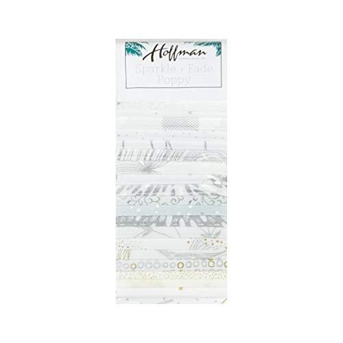 (Hoffman Fabrics Metallic Sparkle & Fade Poppy 2.5'' Strip Pack Snow)