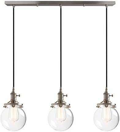 Phansthy 3 Light Industrial Chandelier Brushed Nickel Pendant Ceiling Light with 5.9 Inches Glass Canopy
