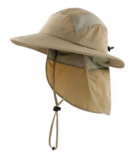 Home Prefer Kids Lightweight Quick Dry Summer Sun Hat Beach Hat for Boys Fishing Hat Khaki -