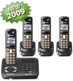 Panasonic KX-TG6444T DECT 6.0 Expandable 4-Handset Cordless Phone System with Dual Keypad, Talking Caller ID, Answering Machine and Talking Alarm Clock