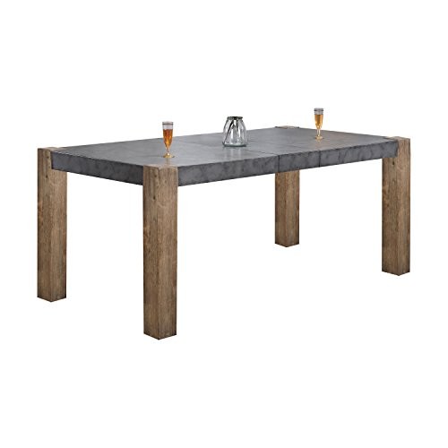 (ACME Furniture  Paulina II Dining Table, Dark Gray and Rustic Oak)