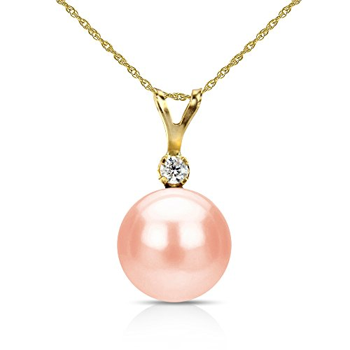 Gold Diamond Pink Pearl Pendant (14k Yellow Gold 1/20cttw Diamond 9-9.5mm Pink Freshwater Cultured Pearl Pendant 18
