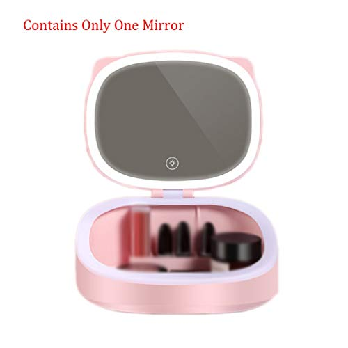 YC electronics Led Makeup Mirror with Cosmetic Storage Box Vanity Mirror Desktop Lamp Dormitory Table Fill Light Mirror Makeup Mirrors (Color : Pink, Size : 2017.519cm)