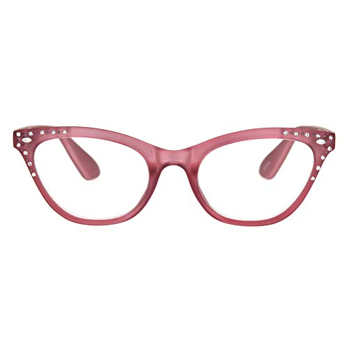 Womens Bling Rhinestone Plastic Cat Eye Horn Rim Powered Reading Glasses Pink (Pink Rhinestone Reading Glasses)