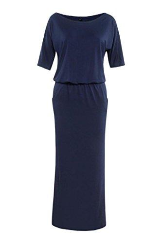 verano marino azul noche fiesta Lmmvp bolsillo mujer de con largo de boho vestido para de 6gqAfE
