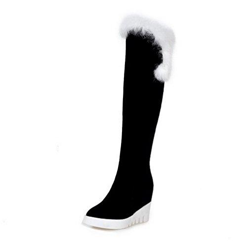 AgooLar Damen Gemischte Farbe Überknie Hohe Stiefel Hoher Absatz Stiefel Weiß